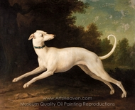 White Greyhound painting reproduction, Jean-Baptiste Oudry
