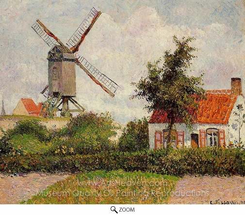 Camille Pissarro, Windmill at Knocke, Belgium oil painting reproduction