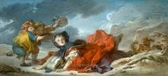 Winter painting reproduction, Jean-Honore Fragonard