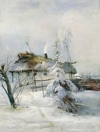 Winter painting reproduction, Alexey Savrasov