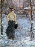 Winter, Central Park painting reproduction, Childe Hassam