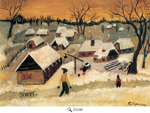 Catinca Popescu, Winter in the Countryside oil painting reproduction
