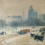 Winter in Union Square painting reproduction, Childe Hassam