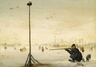 Winter Landscape with a Hunter Shooting Duck painting reproduction, Hendrick Avercamp