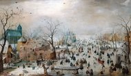 Winter Landscape with Ice Skaters painting reproduction, Hendrick Avercamp