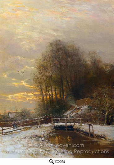Louis Apol, Winter Landscape with Peasant Woman and Child oil painting reproduction
