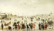 Winter Scene on a Frozen Canal painting reproduction, Hendrick Avercamp