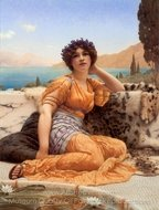 With Violets Wreathed and Robe of Saffron Hue painting reproduction, John William Godward