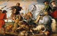 Wolf and Fox Hunt painting reproduction, Peter Paul Rubens