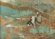 Woman and Cow in a Landscape painting reproduction, Frederick Carl Frieseke
