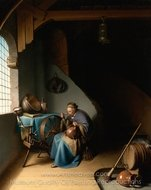 Woman Eating Porridge painting reproduction, Gerrit Dou