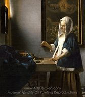 Woman Holding a Balance painting reproduction, Jan Vermeer