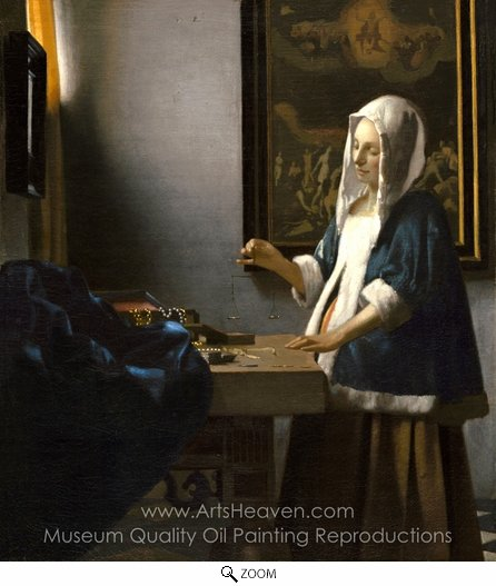 Jan Vermeer, Woman Holding a Balance oil painting reproduction