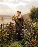 Woman in a Garden painting reproduction, Daniel Ridgway Knight