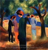 Woman in a Green Jacket painting reproduction, August Macke