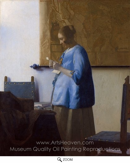 Jan Vermeer, Woman in Blue Reading a Letter oil painting reproduction
