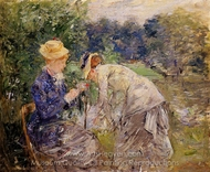 Woman Picking Flowers painting reproduction, Berthe Morisot