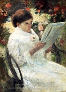 Woman Reading in a Garden painting reproduction, Mary Cassatt