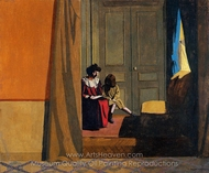 Woman Reading to a Little Girl painting reproduction, Felix Vallotton