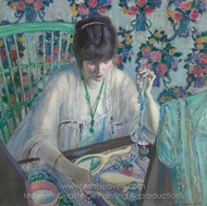 Woman Selecting a Necklace painting reproduction, Frederick Carl Frieseke