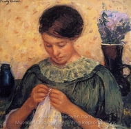 Woman Sewing painting reproduction, Mary Cassatt