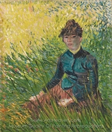 Woman, Sitting in the Grass painting reproduction, Vincent Van Gogh