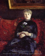 Woman Sitting on a Red Flowered Sofa painting reproduction, Gustave Caillebotte