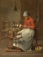 Woman Spinning painting reproduction, Jean-Francois Millet