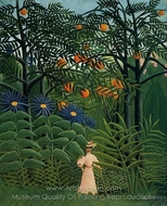 Woman Walking in an Exotic Forest painting reproduction, Henri Rousseau