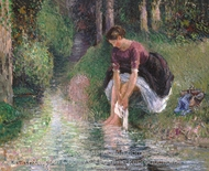 Woman Washing Her Feet in a Brook painting reproduction, Camille Pissarro
