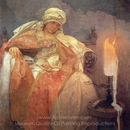 Woman with a Burning Candle painting reproduction, Alfonse Mucha