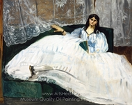 Woman with a Fan painting reproduction, �douard Manet