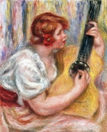 Woman with a Guitar painting reproduction, Pierre-Auguste Renoir