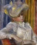 Woman with a Hat painting reproduction, Pierre-Auguste Renoir