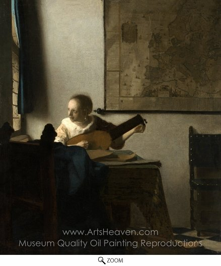 Jan Vermeer, Woman with a Lute Near a Window oil painting reproduction