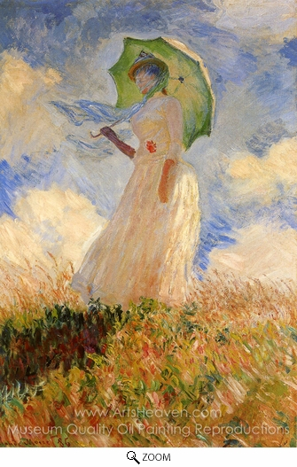 Claude Monet, Woman with a Parasol Facing Left oil painting reproduction