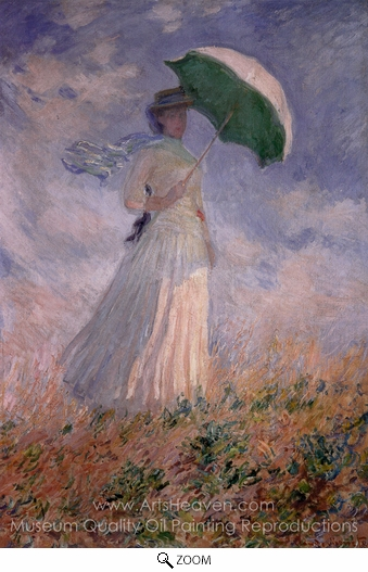 Claude Monet, Woman with a Parasol Facing Right oil painting reproduction