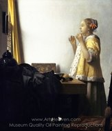 Woman with a Pearl Necklace painting reproduction, Jan Vermeer