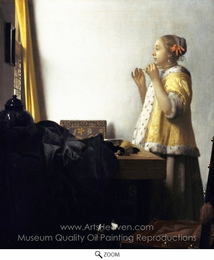 Jan Vermeer, Woman with a Pearl Necklace oil painting reproduction