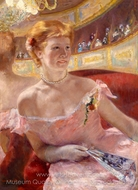 Woman with a Pearl Necklace in a Loge painting reproduction, Mary Cassatt