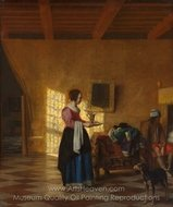 Woman with a Water Pitcher, and a Man by a Bed (The Maidservant) painting reproduction, Pieter De Hooch