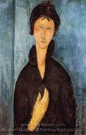 Woman with Blue Eyes painting reproduction, Amedeo Modigliani