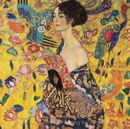 Woman with Fan painting reproduction, Gustav Klimt