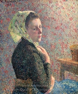 Woman with Green Scarf painting reproduction, Camille Pissarro