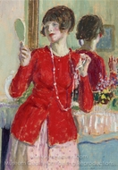 Woman with Mirror painting reproduction, Frederick Carl Frieseke