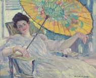 Woman with Parasol painting reproduction, Frederick Carl Frieseke