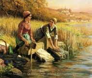 Women Washing Clothes by a Stream painting reproduction, Daniel Ridgway Knight