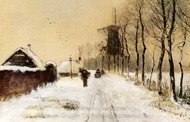 Wood Gatherers on a Country Lane in Winter painting reproduction, Louis Apol