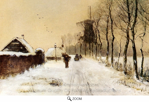 Louis Apol, Wood Gatherers on a Country Lane in Winter oil painting reproduction