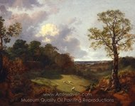 Wooded Landscape with a Cottage and Shepherd painting reproduction, Thomas Gainsborough